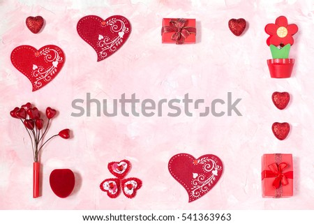Festive Background To Valentines Day Frame Of Gift Boxes With Red