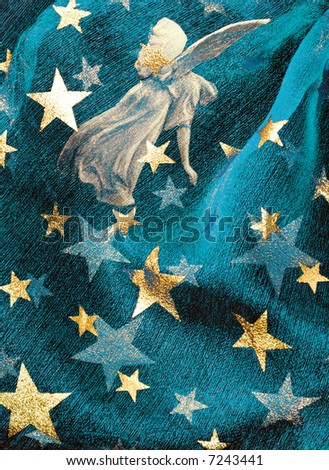 Festive background with angel and golden stars