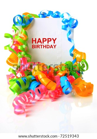 Festive birthday card surrounded by ribbons. - stock photo