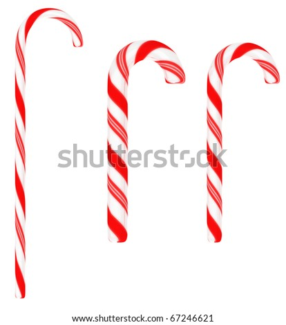 Festive Candy canes isolated on white background