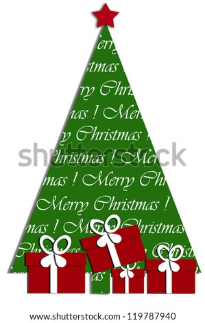 festive card design with christmas tree and gift boxes under it