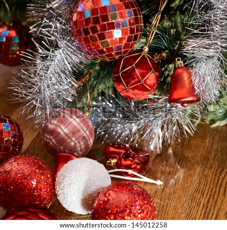 Festive Christmas background as a decorational xmas balls under the tree composition