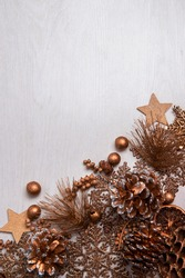 Festive Christmas background with gold decorations
