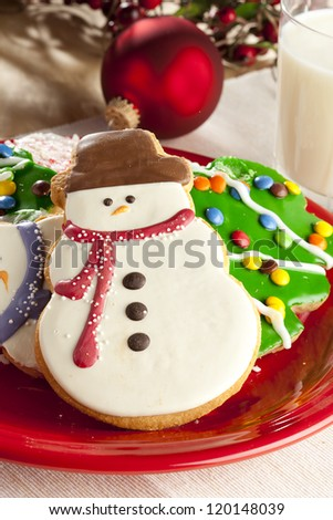 Festive Christmas Cookie in the shape of a snowman