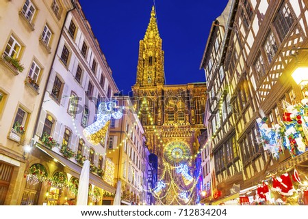 Shutterstock Festive Christmas illumination and decorations on streets of Strasbourg - capital of Christmas, Alsace, France.