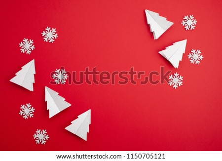 Festive christmas mockup over the red  background with copy space for text and xmas decoration #1150705121