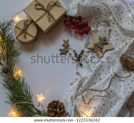 festive christmas or new year background in rustic style with copy space top view