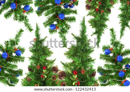 Festive Christmas tree on a white background. Texture, background