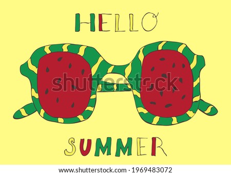 """Festive colorful summer jpg background  """"Hello summer"""". Abstract  watermelon print. Sunglasses. Congratulatory universal design template for gift poster and banner. Сток-фото ©"""