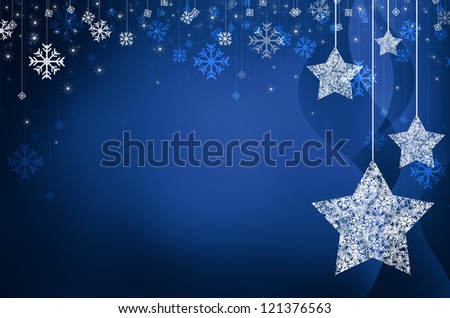 Festive dark blue Christmas background with stars