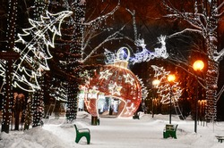 Festive decoration of the Park in the Christmas and new year holidays