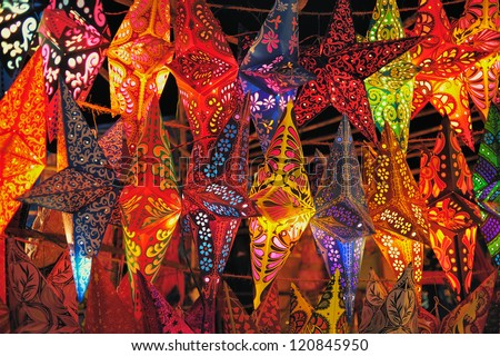 Festive Decorations. Folding paper lanterns from India