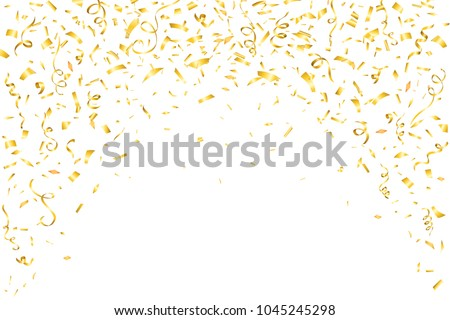 Festive design. Border of gold bright confetti isolated on white background. Party decoration frame for birthday, anniversary, celebration.