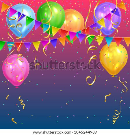 Festive design. Colorful bright confetti, realistic colorful air balloons and flags garlands. Party decoration for birthday, anniversary, celebration.
