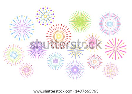 Festive fireworks. Celebration party firework, festival firecracker and, holiday feast celebrated colorful sky fire explosion stars, birthday or birthday celebrating isolated background