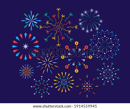 Festive fireworks on a night background. Colorful bright fireworks in the night sky. Celebration fireworks. Background for festive design, party. Pyrotechnics firecracker background