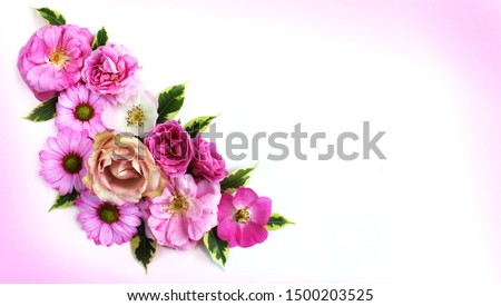 Festive floral arrangement of pink and crimson roses on a white background. Delicate pastels. Delicate style. Background for cards, invitations, greetings. #1500203525