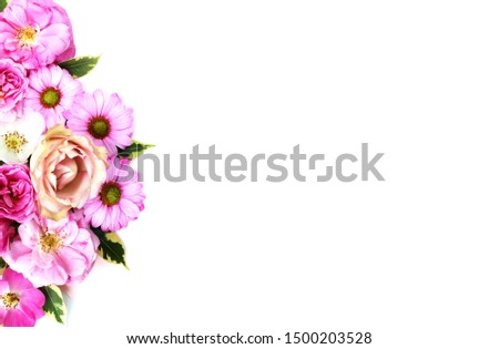 Festive floral arrangement of pink and crimson roses on a white background. Delicate pastels. Delicate style. Background for cards, invitations, greetings. #1500203528