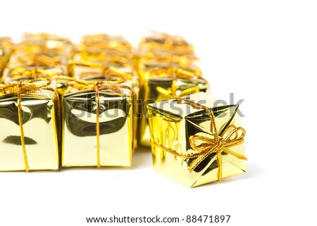 Festive gift boxes isolated on white background