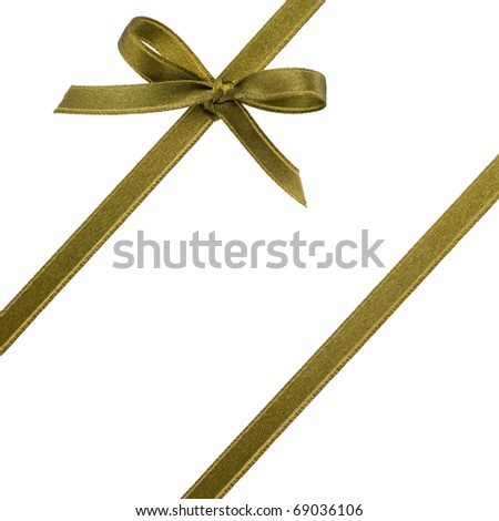 Festive gift ribbon and bow isolated on white