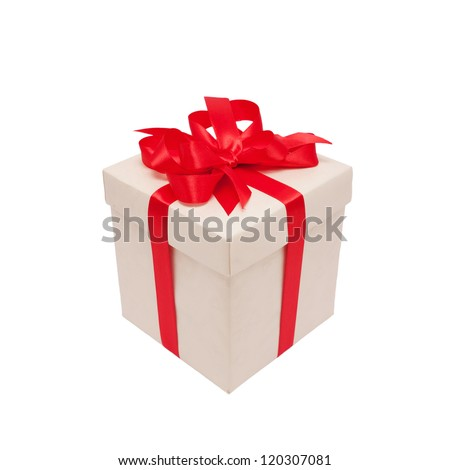 Festive gift. White box and red satin bow. Ready for your text or logo. Isolated on white background