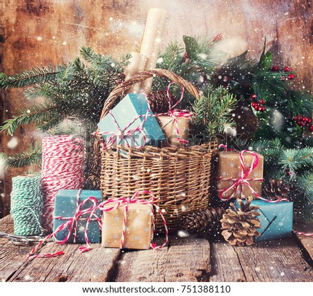 festive gifts with boxes...