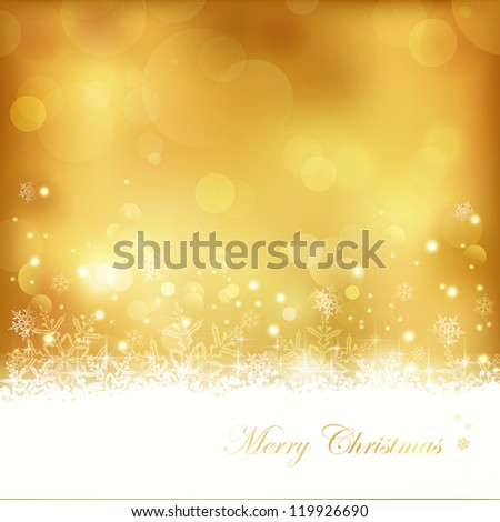 Festive gold background with out of focus light dots, stars,snowflakes and copy space. Great for the festive season of Christmas to come or any other golden anniversary occasion.