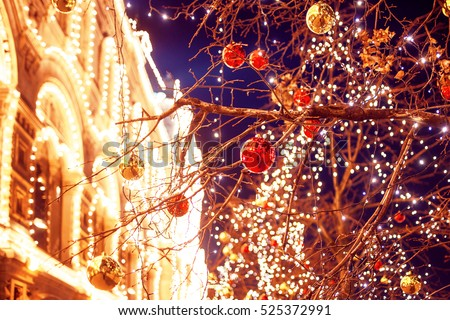 Festive illuminations in the streets of the city. Christmas in Moscow, Russia. Red Square
