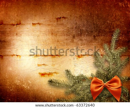 Festive invitation or greeting with fir tree and bow
