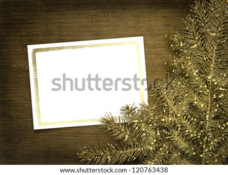 Festive invitation or greeting with firtree on the paper card