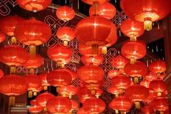 Festive lanterns for Chinese New Year celebration. Decoration, illumination, lighting and bright symbol of holiday event.