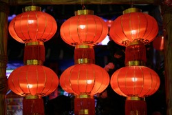 Festive lanterns for Chinese New Year celebration. Glowing decoration, illumination, lighting and bright symbol of holiday events.