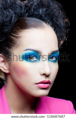Festive makeup on beautiful face of girl