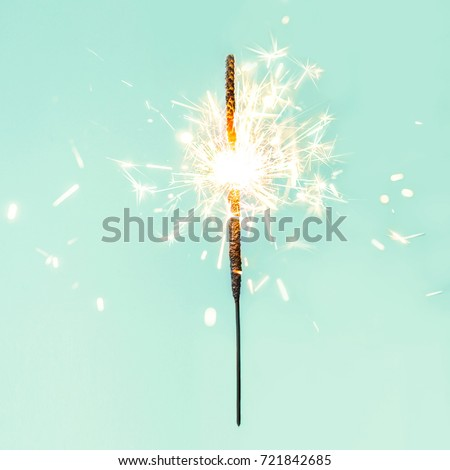 Festive Merry Christmas sparklers. Golden Magic lights for holiday poster, birthday or party concept. Sparkling beautiful sparkles or  bengal lights  #721842685