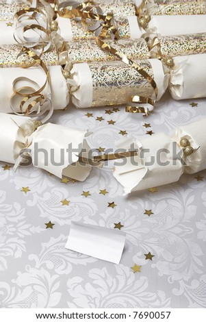 Festive party crackers with a blank note - insert your own message