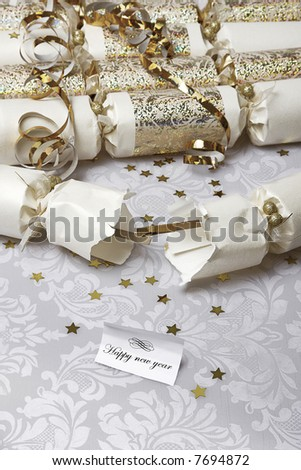 Festive party crackers with a Happy new year note