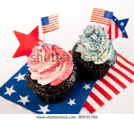 Festive Patriotic Cupcakes in Red, White, and Blue Colors