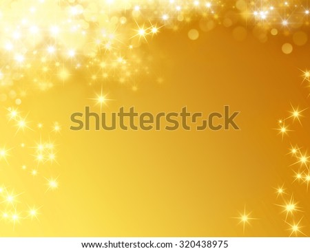 Festive shiny gold background with star lights raining down