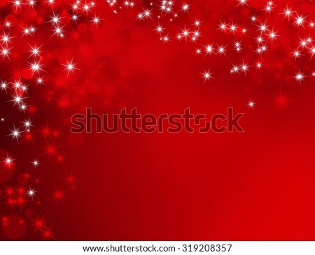 Festive shiny red background with sparkling lights raining down