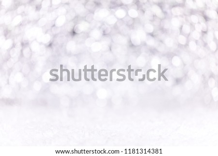 Festive silver and white Background with snow, concept christmas or silvester