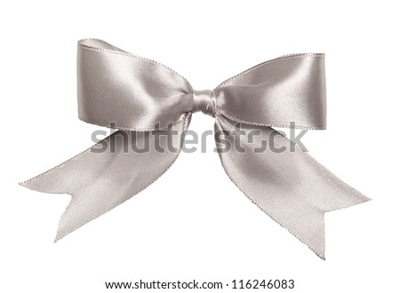 Festive silver bow made of ribbon isolated on white - stock photo