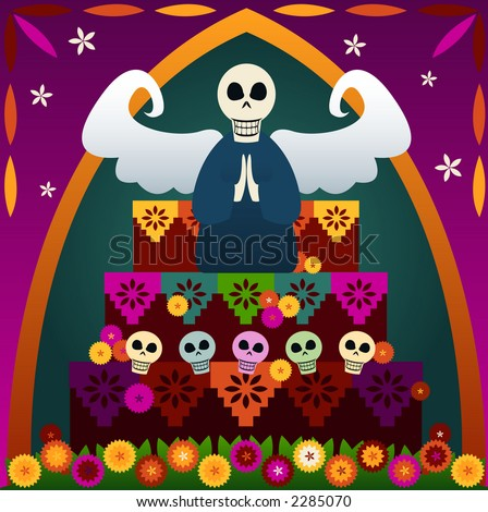 Festive skulls and an angel on top of an altar to celebrate Dia de los Muertos (the Day of the Dead, Oct.31-Nov2) - in rememberance of loved ones who've passed