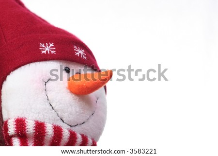 Festive snowman on white with plenty of copy space
