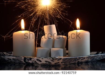 festive sparkler on marshmallows