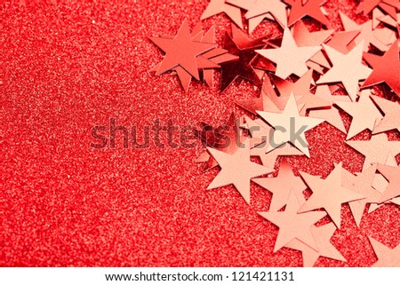 festive stars on red background