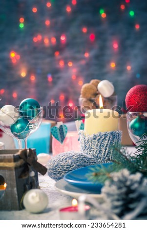 Festive table. Christmas and New Year decorations and Christmas Eve dishes