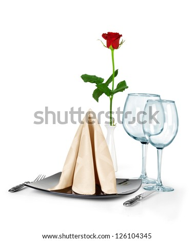 Festive table setting and decoration with fresh flower
