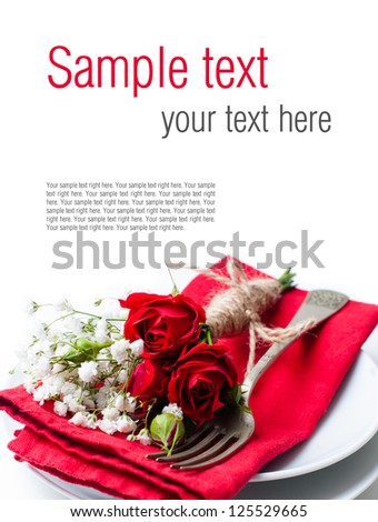 Festive table setting with red roses, napkins and vintage crockery on a white background, ready template