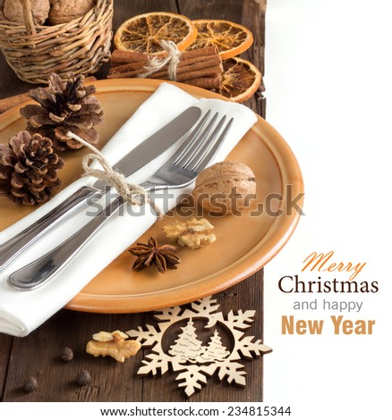 Festive table setting with spices - rustic table setting