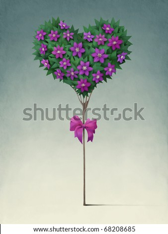 stock photo : Festive tree in the shape of  heart.